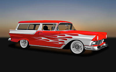 Photograph - 1957 Ford 2 Door Ranch Wagon  -  1957fordranchwagon0064 by Frank J Benz