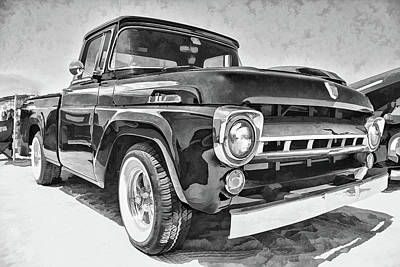 Photograph - 1957 Ford F100 In Black And White by Daniel Adams