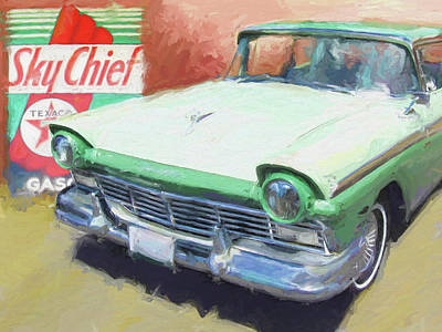 Digital Art - 1957 Ford Texaco Sky Chief by David King