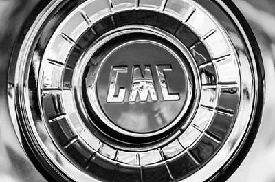 Photograph - 1957 Gmc Pickup Truck Wheel Emblem -0272bw by Jill Reger