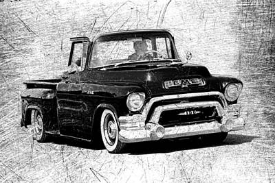 Photograph - 1957 Gmc Truck Black And White by Steve McKinzie