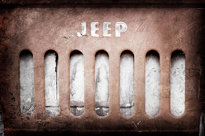 Art Print featuring the photograph 1957 Jeep Emblem -0597ac by Jill Reger
