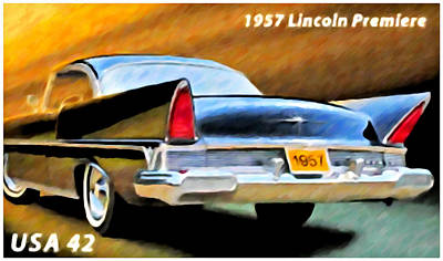 Premieres Painting - 1957 Lincoln Premiere by Lanjee Chee