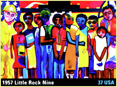 United States Postage Painting - 1957 Little Rock Nine by Lanjee Chee