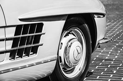 Mercedes Benz 300 Sl Classic Car Photograph - 1957 Mercedes-benz 300 Sl Roadster Wheel Emblem -0121bw by Jill Reger