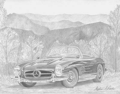 Mercedes Automobile Drawing - 1957 Mercedes Benz 300sl Roadster Sports Car Art Print by Stephen Rooks