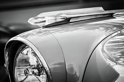 Photograph - 1957 Pontiac Bonneville Hood Ornament -0298bw by Jill Reger