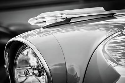 Classic Pontiac Photograph - 1957 Pontiac Bonneville Hood Ornament -0298bw by Jill Reger