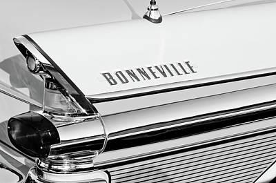 1957 Pontiac Bonneville Taillight Emblem -0106bw Art Print by Jill Reger