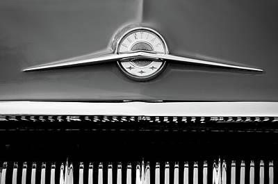Classic Pontiac Photograph - 1957 Pontiac Emblem -0326bw by Jill Reger