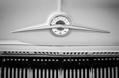 Classic Pontiac Photograph - 1957 Pontiac Safari Emblem -0737bw by Jill Reger