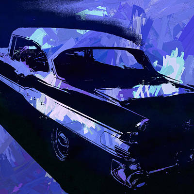 Digital Art - 1957 Pontiac Super Chief Blue Pop by David King