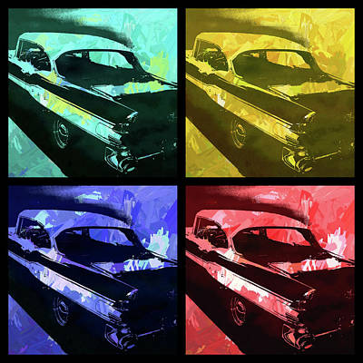 Digital Art - 1957 Pontiac Super Chief Quad Pop by David King