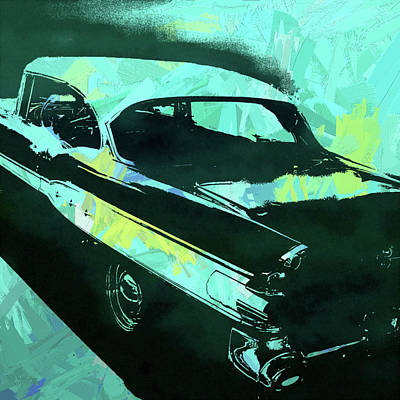 Digital Art - 1957 Pontiac Super Chief Turquoise Pop by David King