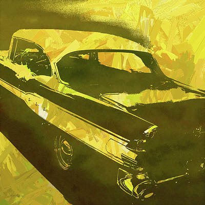 Digital Art - 1957 Pontiac Super Chief Yellow Pop by David King