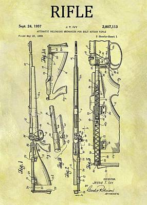 Drawing - 1957 Rifle Patent by Dan Sproul