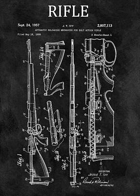 Drawing - 1957 Rifle Patent Illustration by Dan Sproul