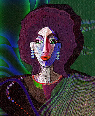 Digital Art - 1957 - Strongheaded Lady With Curly Hair 1017 by Irmgard Schoendorf Welch