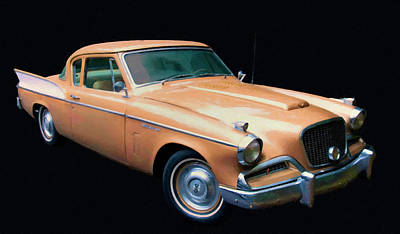 Painting - 1957 Studebaker Golden Hawk Digital Oil by Chris Flees