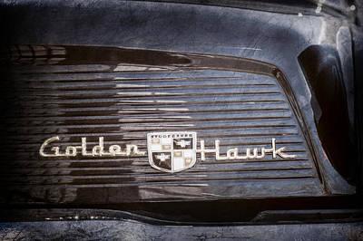 1957 Studebaker Golden Hawk Supercharged Sports Coupe Emblem -0756ac Art Print