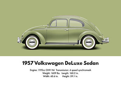 Bug Digital Art - 1957 Volkswagen Deluxe Sedan - Diamond Green by Ed Jackson