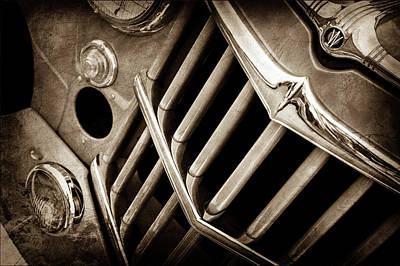1957 Willys Jeep 6-226 Wagon Grille Emblem -1046s Art Print by Jill Reger