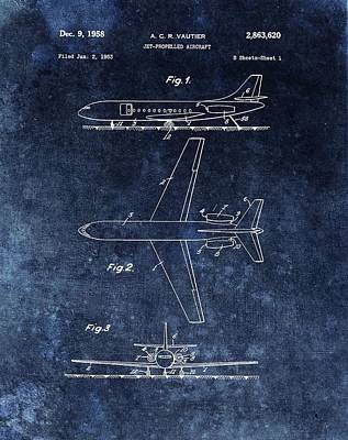 Jet Mixed Media - 1958 Airplane Patent Blue by Dan Sproul