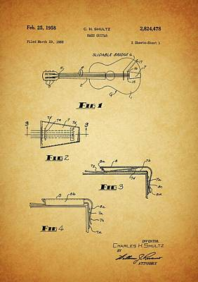 Rock And Roll Drawings - 1958 Bass Guitar Patent by Dan Sproul