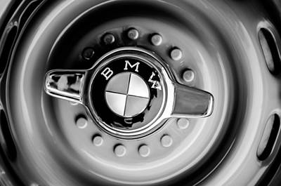 Photograph - 1958 Bmw 507 Series II Roadster Wheel Emblem -2398bw by Jill Reger