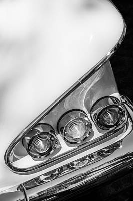 Photograph - 1958 Chevrolet Bel Air Convertible Tail Light -0278bw by Jill Reger