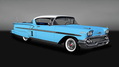 Photograph - 1958 Chevrolet Bel Air Impala 2 Door Hardtop   -   1958chevyimpalagry170198 by Frank J Benz