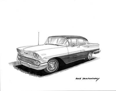 Painting - 1958 Chevrolet Biscayne 4 Door Sedan by Jack Pumphrey