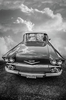 Photograph - 1958 Chevrolet Biscayne In Black And White by Debra and Dave Vanderlaan