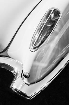 Photograph - 1958 Chevrolet Corvette Tail Light -0131bw by Jill Reger
