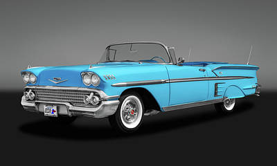 Photograph - 1958 Chevrolet Impala Convertible  -  1958chevyimpalacvgry173578 by Frank J Benz