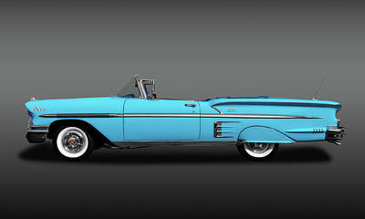 Photograph - 1958 Chevrolet Impala Convertible Profile  -  1958chevroletimpalacvfa173581 by Frank J Benz
