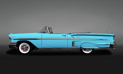 Photograph - 1958 Chevrolet Impala Convertible Profile  -  1958chevyimpalaconvertgry173581 by Frank J Benz