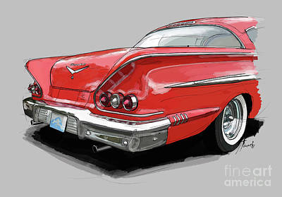 Sport Car Drawing - 1958 Chevy Impala Sport Coupe 348, Gift For Husband by Drawspots Illustrations