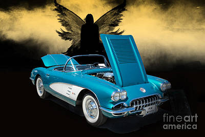 Photograph - 1958 Corvette By Chevrolet And Dark Angel Photograph Print 3482. by M K Miller