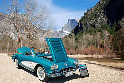 Photograph - 1958 Corvette By Chevrolet Near River In A Color Photograph 3495 by M K Miller