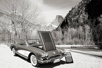 Photograph - 1958 Corvette By Chevrolet Near River In A Sepia Photograph 3495 by M K Miller