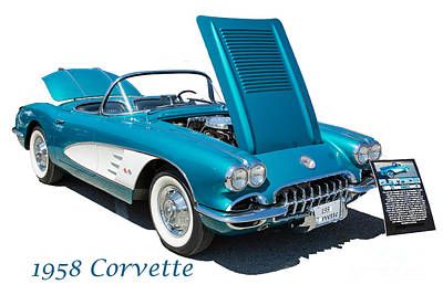 Photograph - 1958 Corvette By Chevrolet On White In A Color Photograph 3496.0 by M K Miller