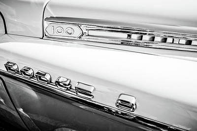 Photograph - 1958 Dodge Sweptside Truck Emblem -0039bw by Jill Reger
