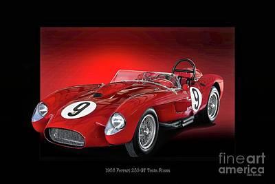 1958 Ferrari 250 Gt Testa Rossa 'studio' Art Print by Dave Koontz
