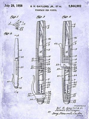1958 Fountain Pen Pistol Patent Blueprint Art Print by Jon Neidert