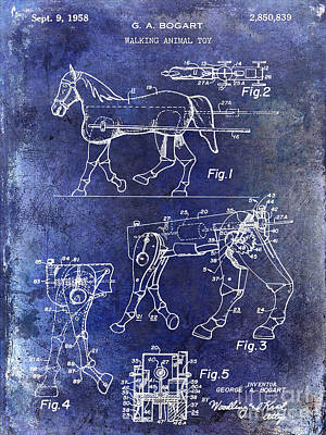 Horse Drawings Photograph - 1958 Horse Toy Patent Blue by Jon Neidert