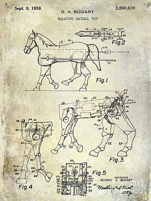 Horse Drawings Photograph - 1958 Horse Toy Patent by Jon Neidert