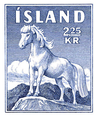 Iceland Horse Wall Art - Digital Art - 1958 Icelandic Horse Postage Stamp by Retro Graphics