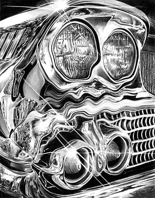 Graphite Drawing - 1958 Impala Beauty Within The Beast by Peter Piatt