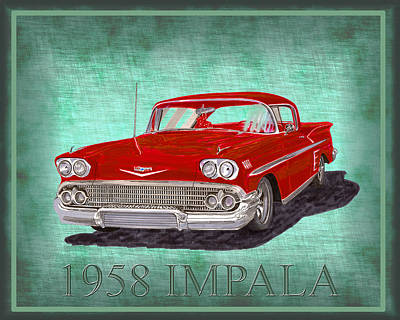 Painting - 1958 Impala By Chevrolet by Jack Pumphrey